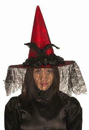 Heksenhoed rood met tule Halloween hoed heks