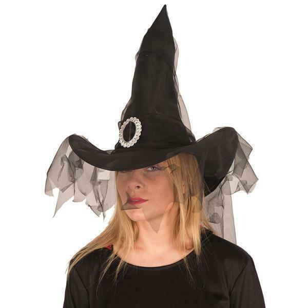 Heksenhoed zwart met tule en zilveren gesp Halloween hoed heks