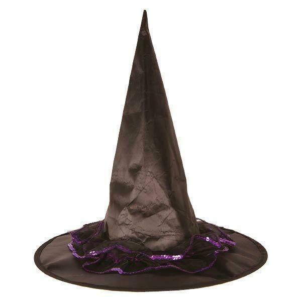 Heksenhoed zwart met paars Halloween hoed heks