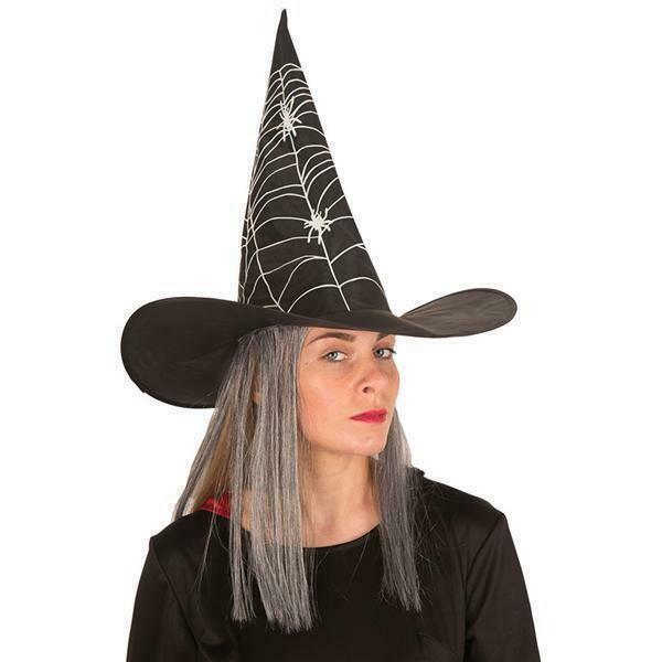 Heksenhoed met haar grijs Halloween hoed heks