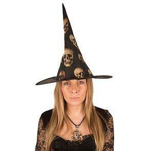 Heksenhoed zwart met doodshoofden nylon Halloween hoed heks skelet