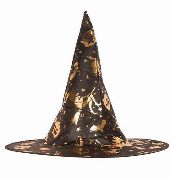Heksenhoed zwart met gouden tekeningen op voor kinderen nylon Halloween hoed heks