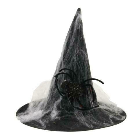 Heksenhoed zwart met spin en spinnenweb