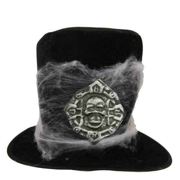 Buishoed zwart met spinnenweb en embleem op  Halloween hoge hoed