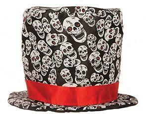 Buishoed zwart met witte doodshoofden op en rode band Halloween hoge hoed