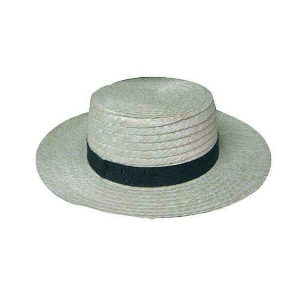 Strohoed canotier Maurits Chevalier Anno 1900 hoed stro met zwarte band