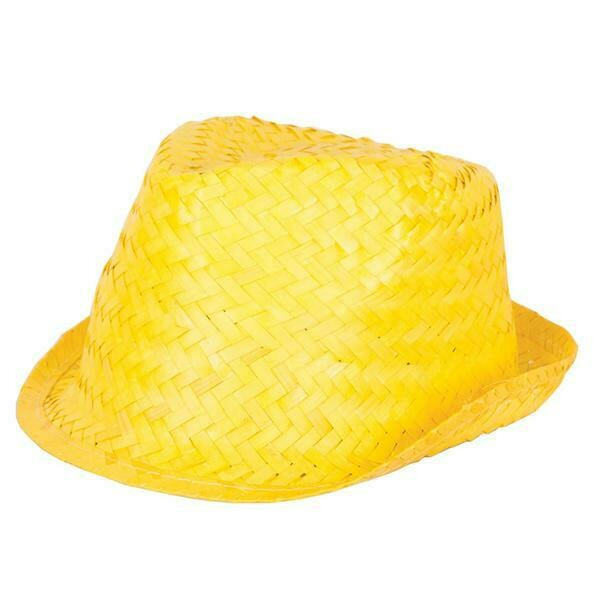 Hoed geel funk in stro riet