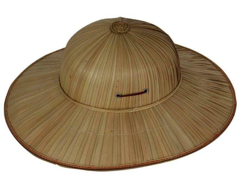 Tropenhelm hoed tropen in stro riet Jungle
