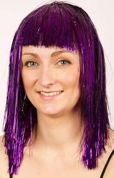 Pruik glitter paars
