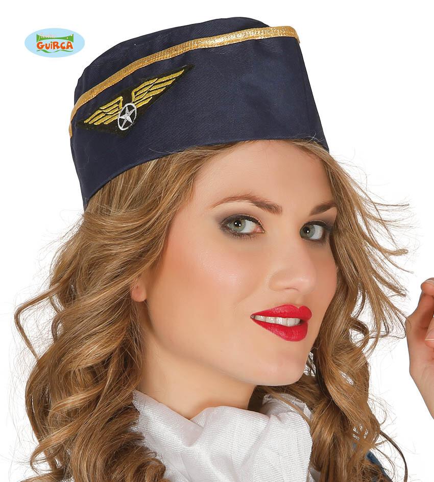 Stewardess schuitje pet dames piloot blauw Airhostess