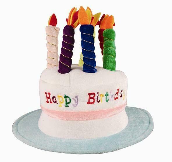 Hoed Happy Birthday Taart met kaarsjes