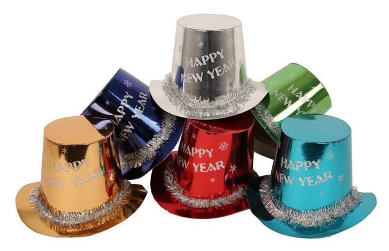 Hoed Happy New Year buishoed karton Nieuwjaar per 10 stuks !