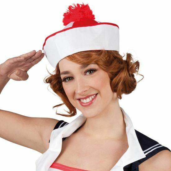 Matrozenhoed Peppi en Kokki rood wit matrozenpet Marine Navy