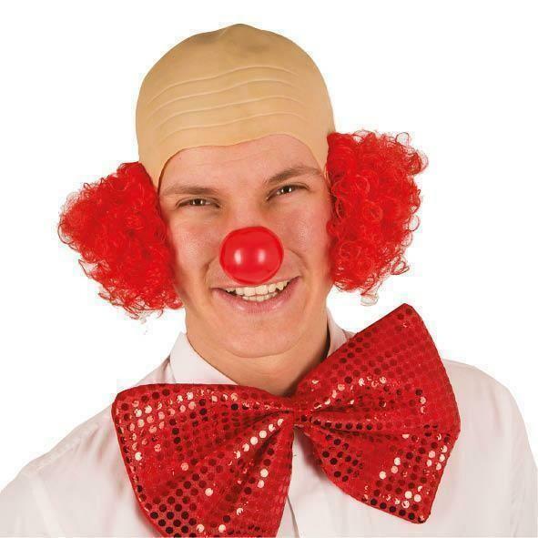 Kaalkop Clown kaal hoofd met rood haar clownspruik