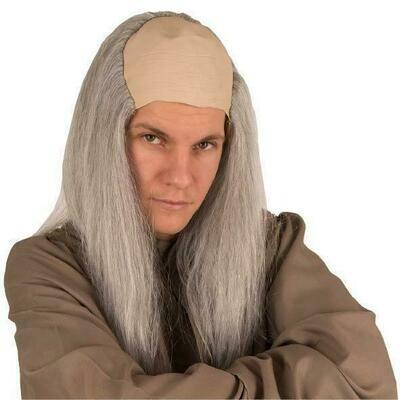 Kaalkop met grijs recht haar kaal hoofd oude man tovenaar
