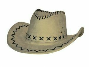 Cowboyhoed lichtbruin suede look volwassenen