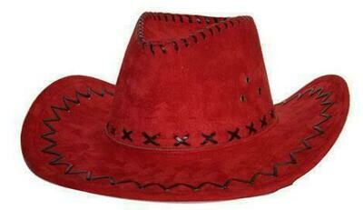 Cowboyhoed Rood suede look volwassenen