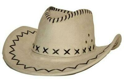 Cowboyhoed Wit suede look volwassenen