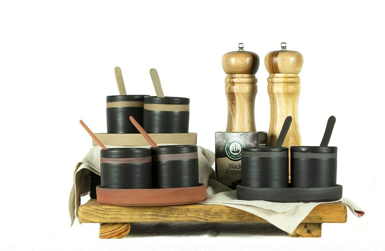 Set - Salt & Pepper Pots & Tray