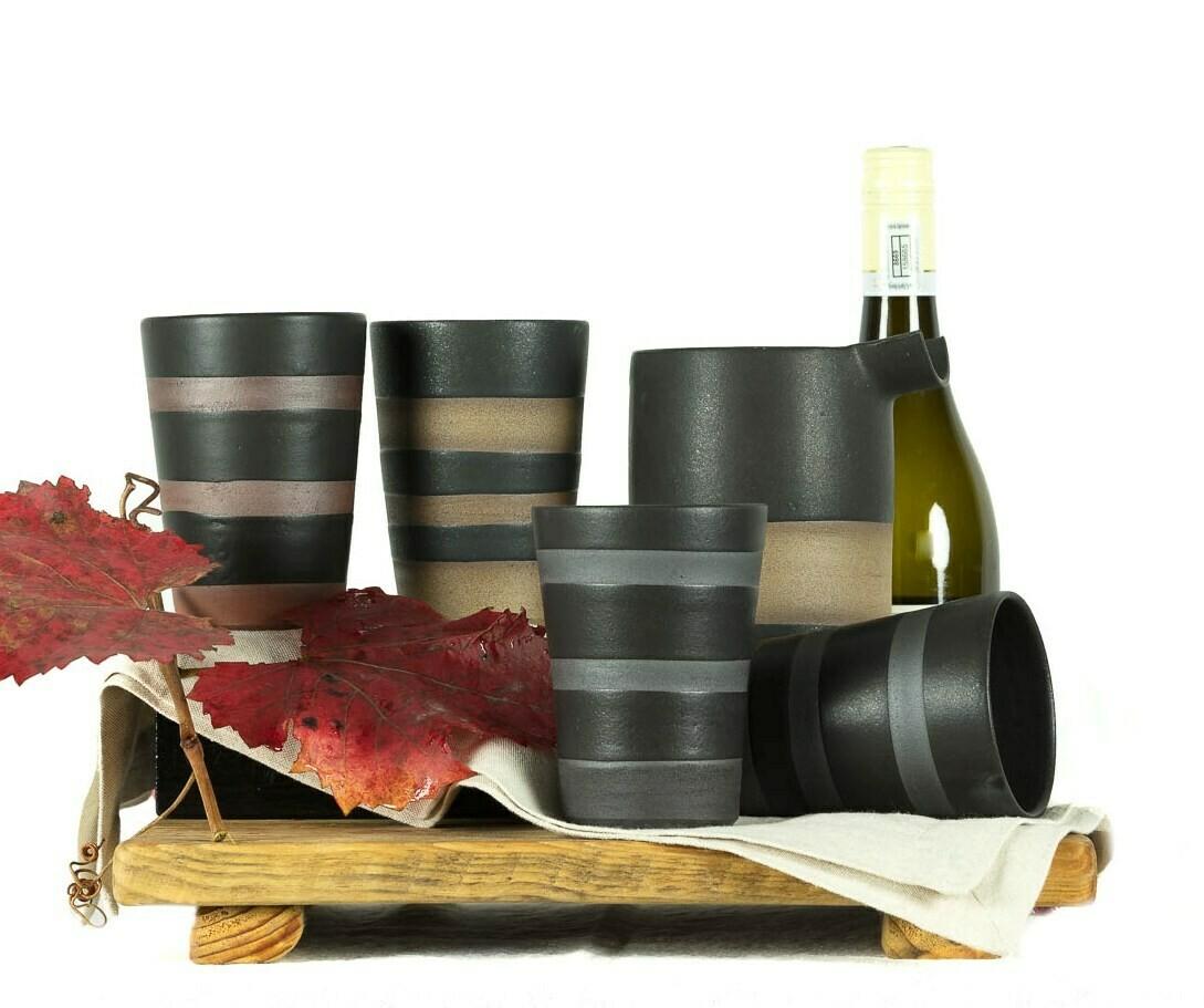 Glass - Wine/Water - Striped - Tall