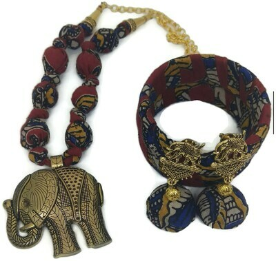 KALAMKARI JEWELLERY SET WTIH ELEPHANT PENDANT - NECKLACE  2BANGLES & JHUMKAS