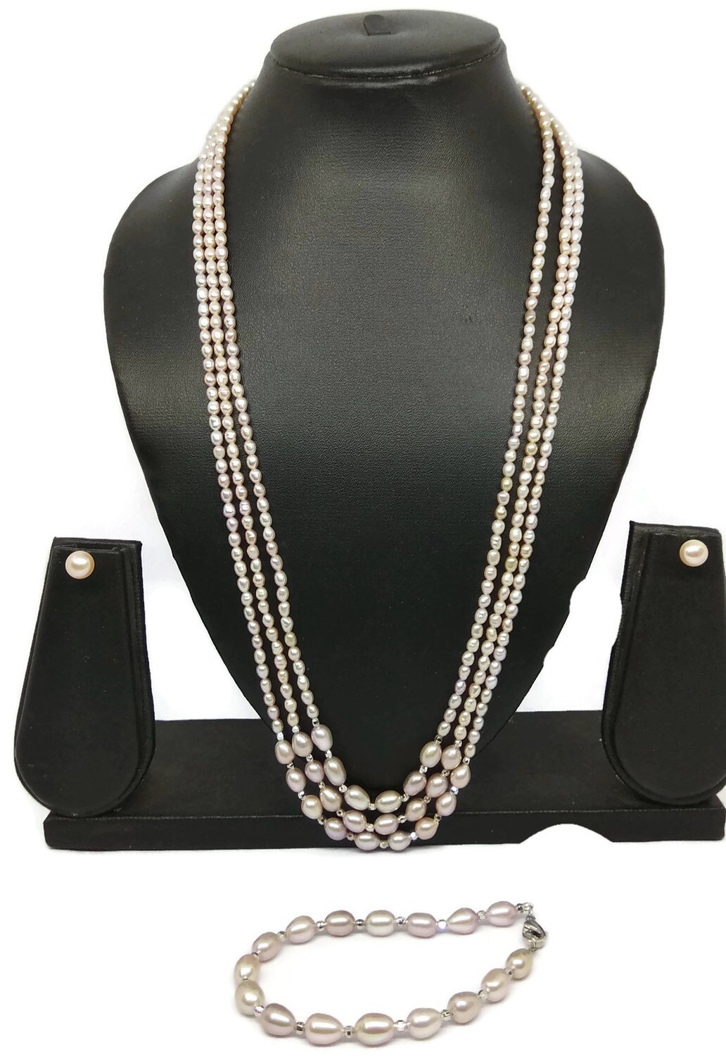 THREE LINE FRESHWATER PEARL NECKLACE SET