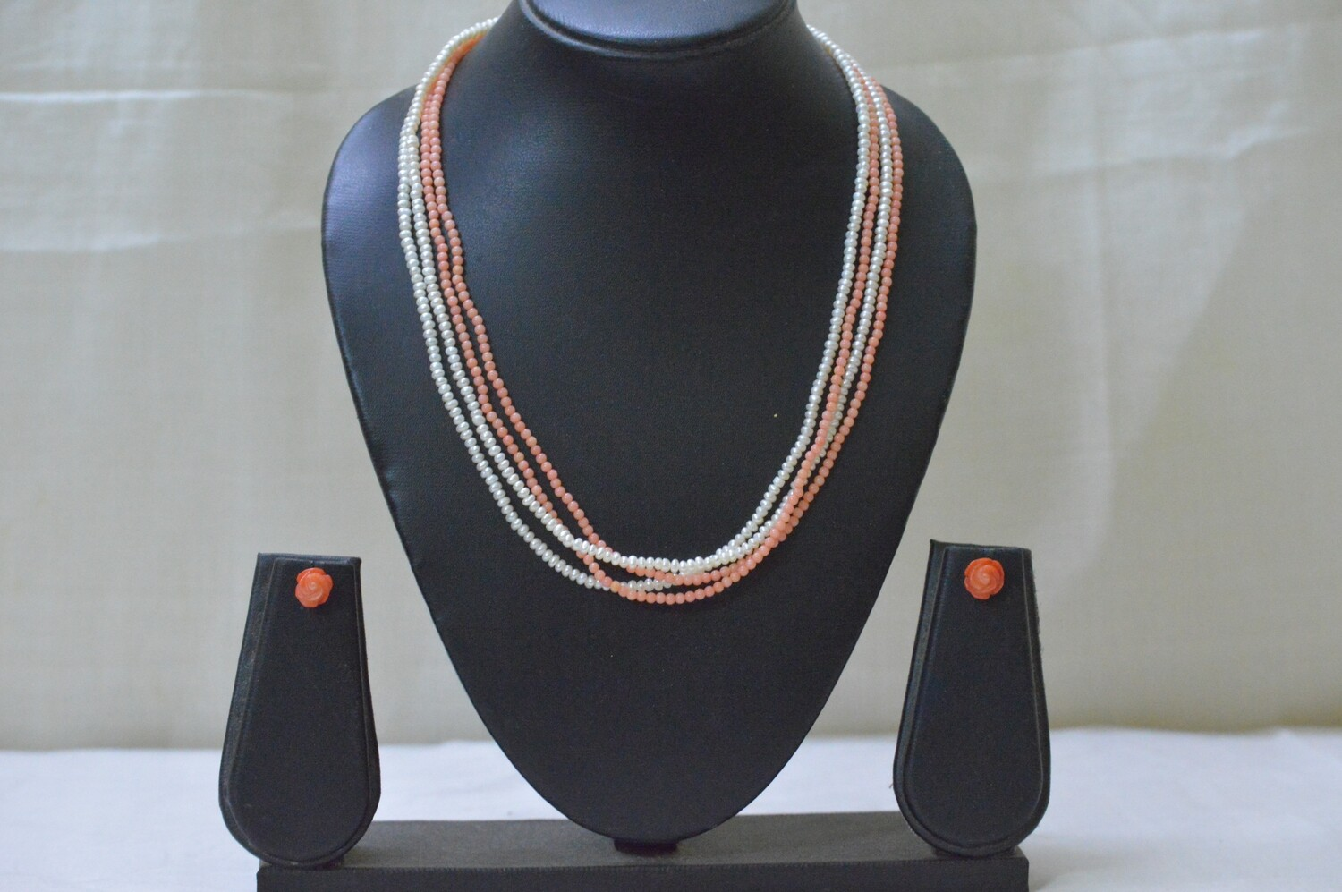 4LINE FRESHWATER CULTURED PEARL AND CORAL CHAIN SET
