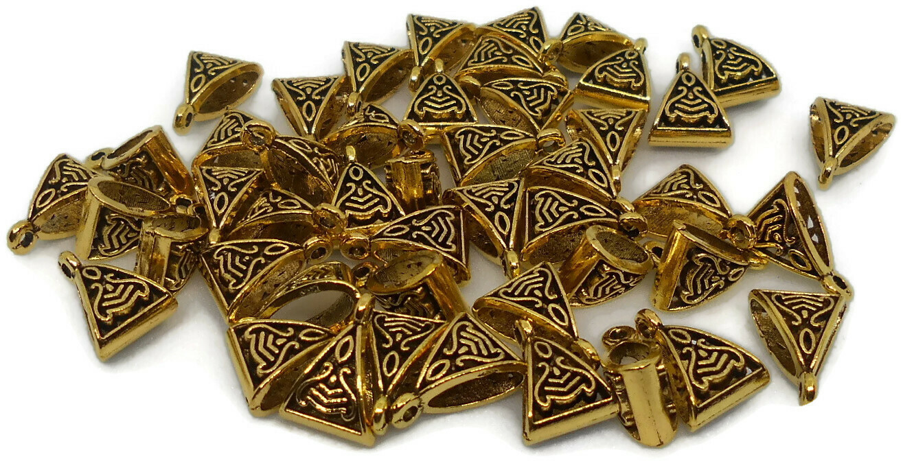 ANTIQUE GOLD BAILS/PENDANT LINKS FOR JEWELRY MAKING