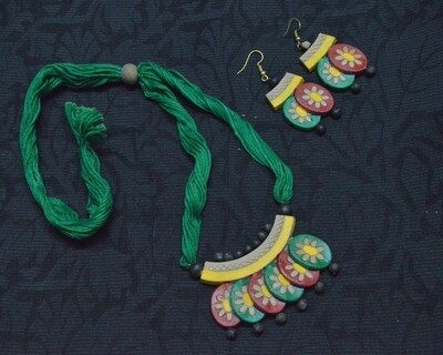 HANDMADE COLORFUL TERRACOTTA JEWELLERY NECKLACE SET