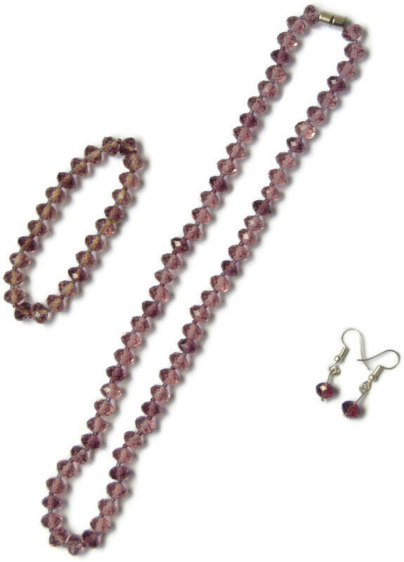 Ladies Crystal Chain Set - Chain Bracelet and Ear rings