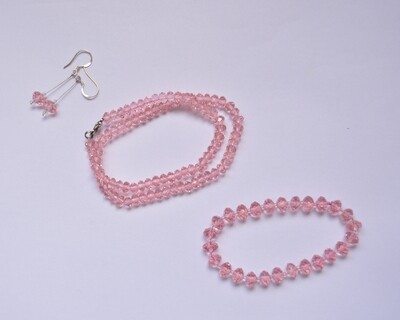 Ladies Crystal Chain Set - Pink Color Chain Bracelet and Ear rings