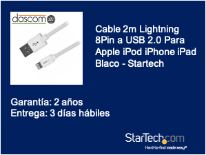 Cable 2m Lightning 8Pin a USB 2.0 Para Apple iPod iPhone iPad Blaco - Startech