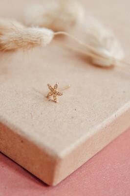 Earring Stud Flower Gold