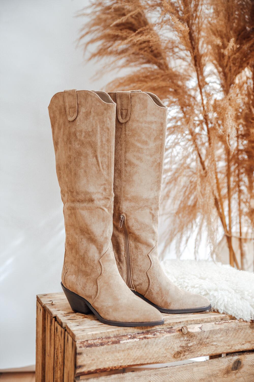 High Cowboy Boots Beige