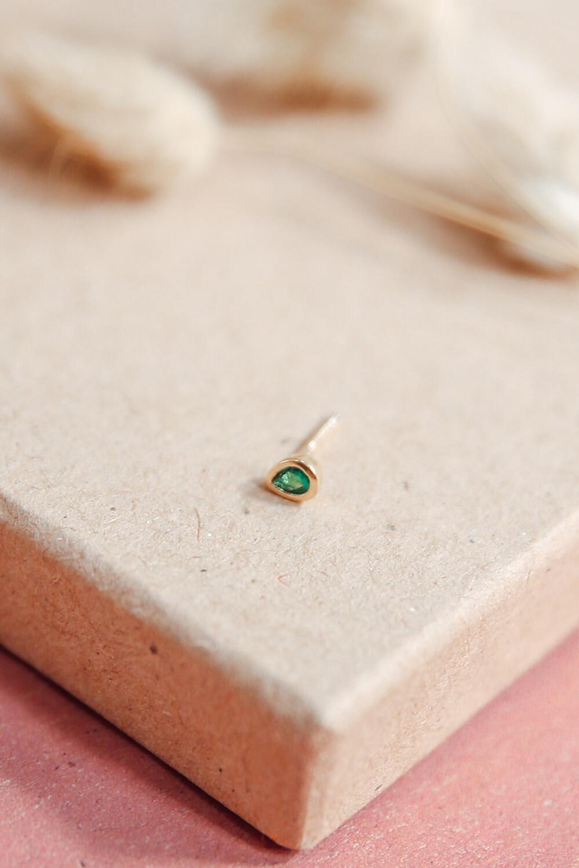 Earring Stud Stone Green