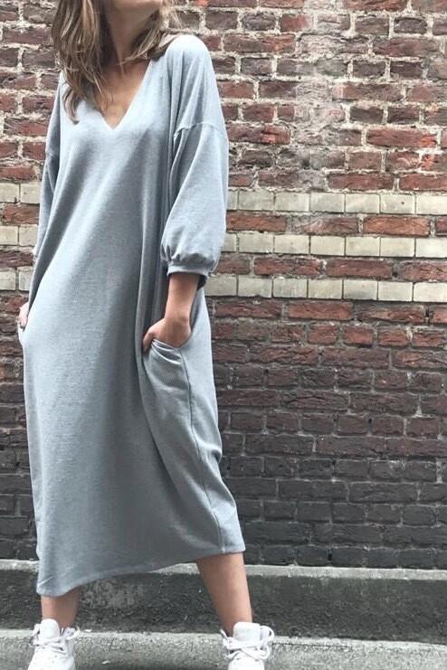 Jogging Dress V-Neck Grey