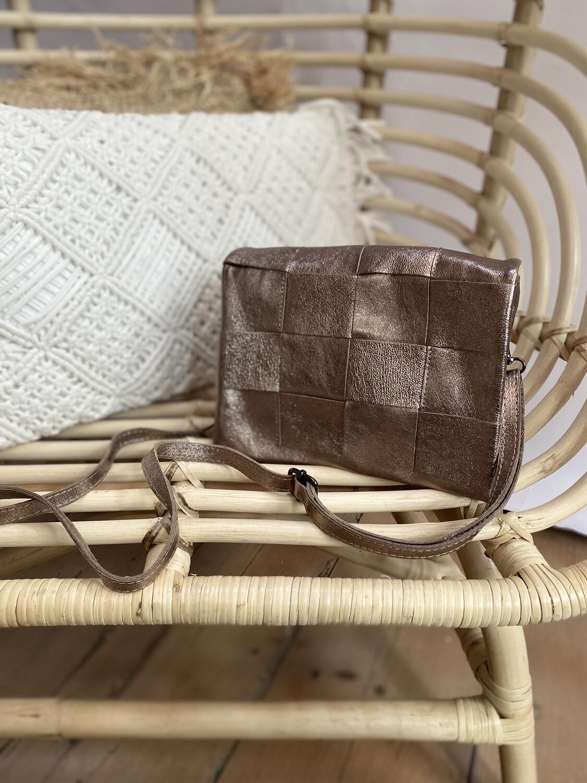 Handbag Leather Woven Metallic