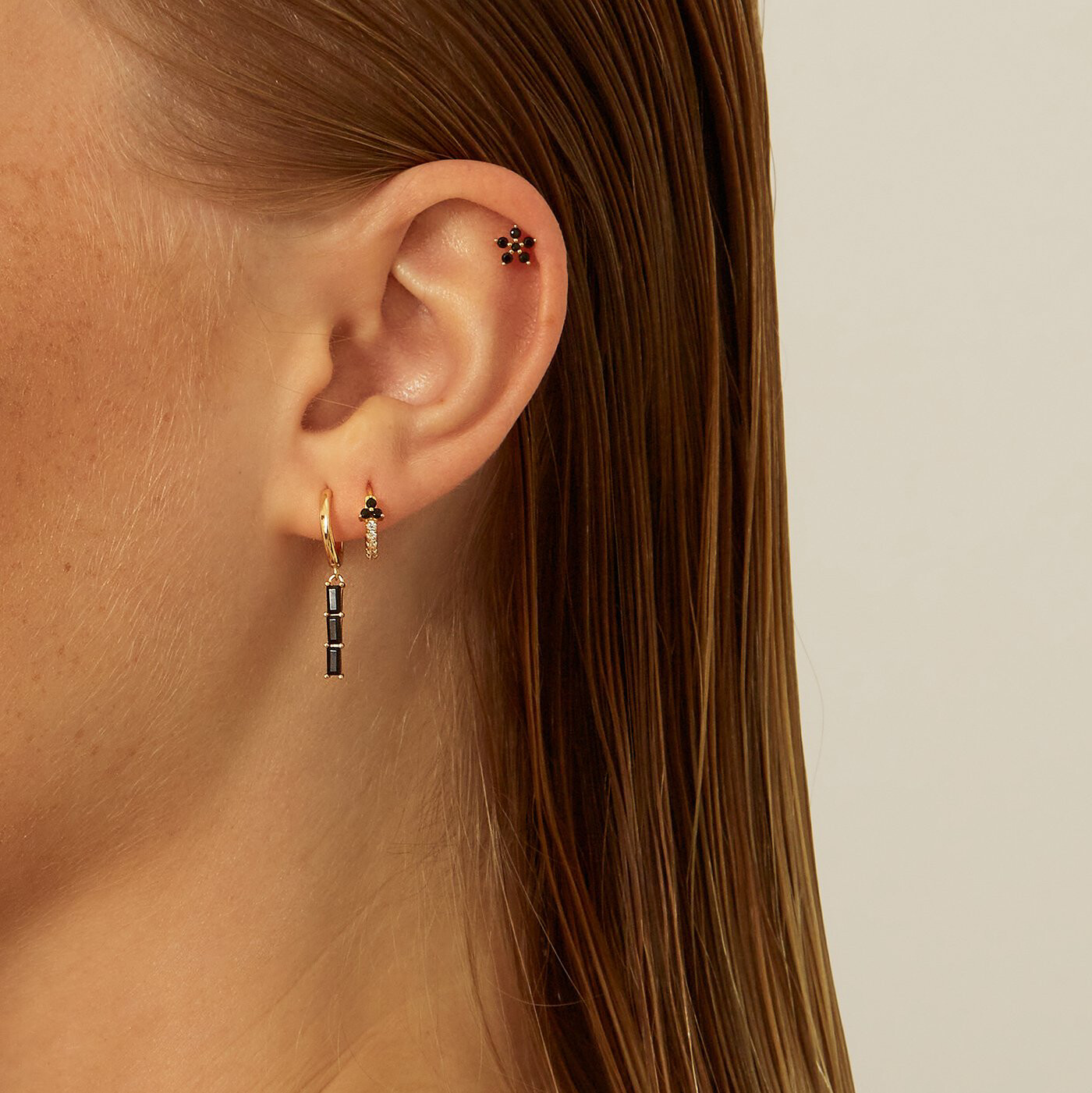 Black Zola Gold Earring