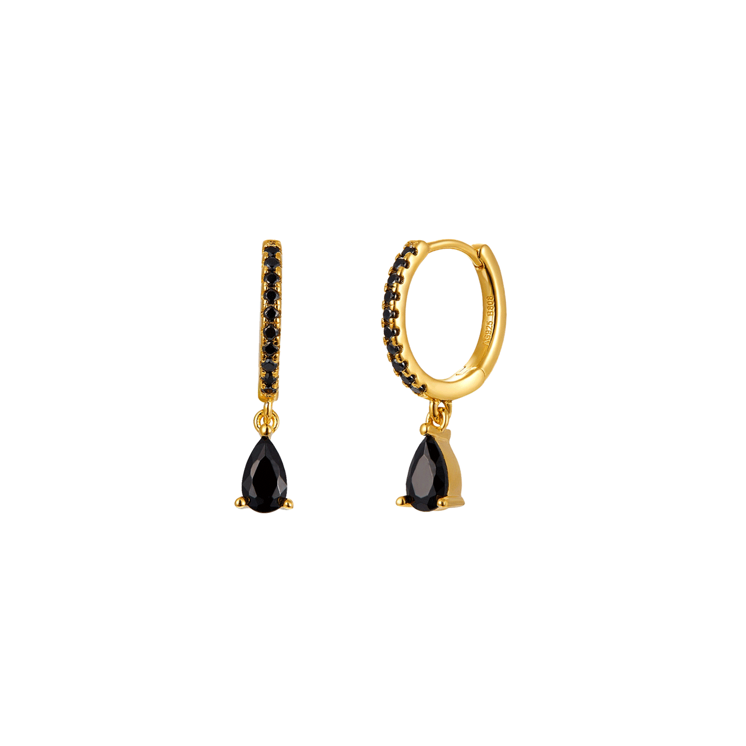 Black Emotion Gold Earring