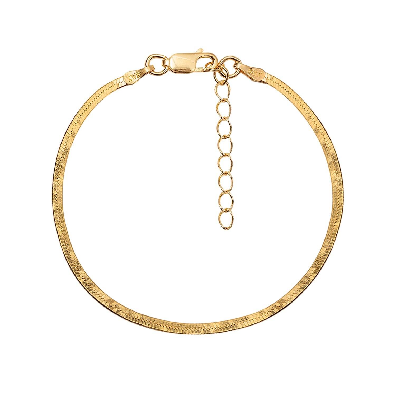 Thin Herringbone Gold Bracelet