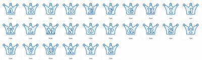 Embossing kroontjes alfabet