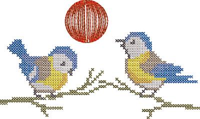kruissteek vogeltjes
