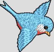 Klein blauw vogeltje