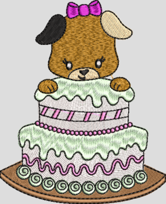 Hondje met taart meisje
