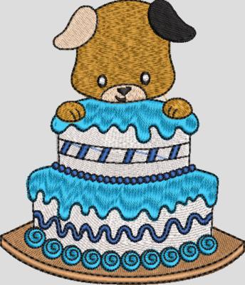 Hondje met taart jongen