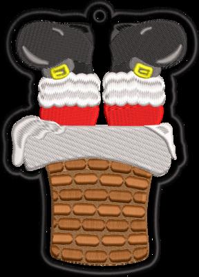 kerstman met benen uit de schoorsteen