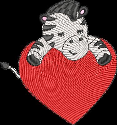 Zebra met blanco hart (evt. met mylar)