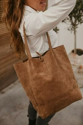 suede shopper camel