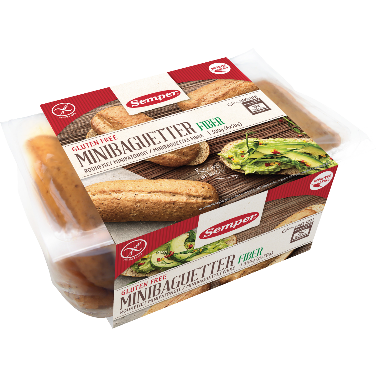 Semper Mini Baguettes Vezelrijk ( bruin)( 6 x 50 g)