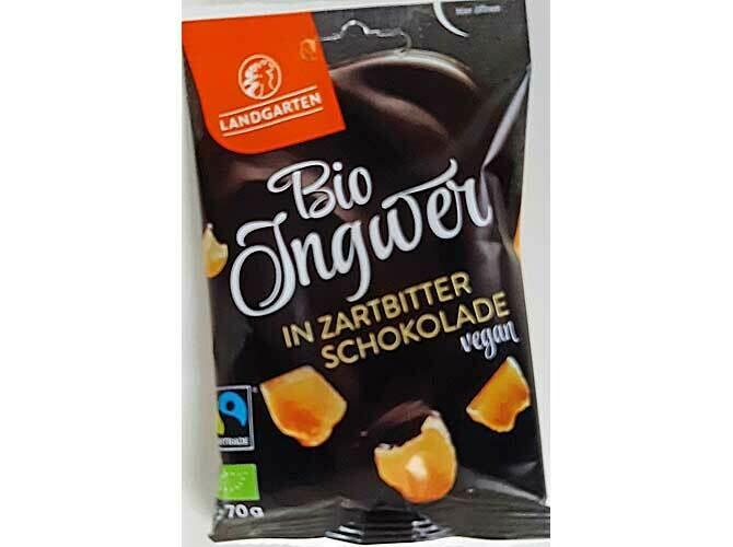 Landgarten Gekonfijte stukjes gember omhuld met pure chocolade GV